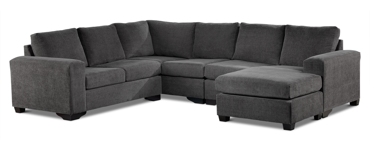 Danielle 3-Piece Sectional With Right-Facing Corner Wedge - Grey regarding Scarborough Sectional Sofas (Image 4 of 10)
