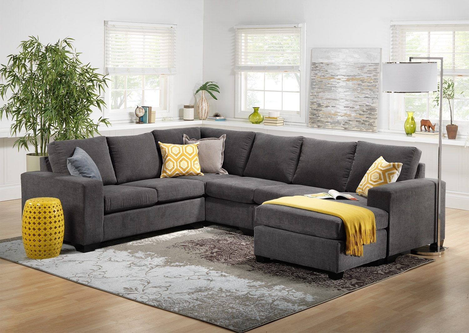 Danielle 3-Piece Sectional With Right-Facing Corner Wedge - Grey within Kitchener Sectional Sofas (Image 3 of 10)