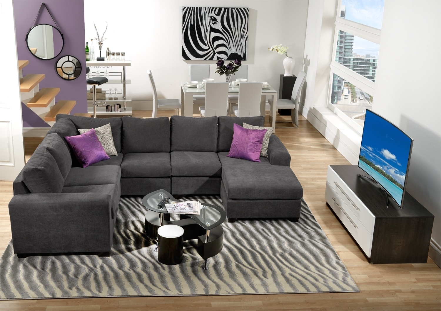 Danielle 3-Piece Sectional With Right-Facing Corner Wedge - Grey within Leons Sectional Sofas (Image 4 of 10)