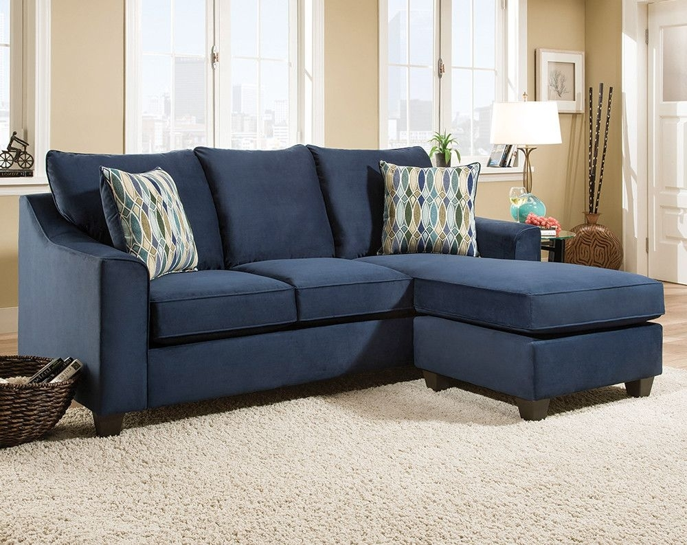 Dark Blue Sofa With Accent Pillows | Nile Blue 2 Pc. Sectional Sofa within Sectional Sofas At Rooms To Go (Image 3 of 15)