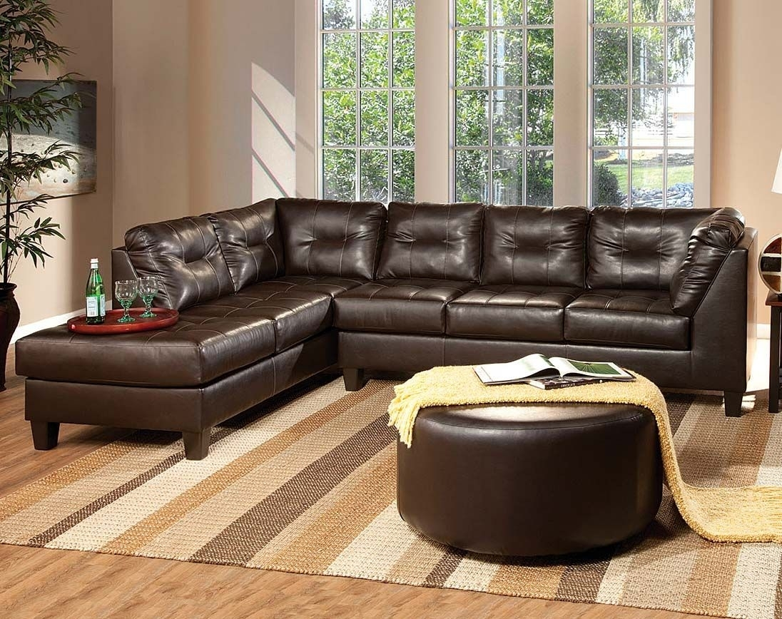 Dark Brown Leather-Like Fabric | Venus Chocolate Sectional Sofa throughout Layaway Sectional Sofas (Image 4 of 10)