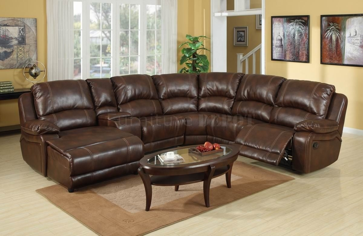 Dark Brown Leather Sectional Sofa With Recliner And Coffee Table Inside Leather Sectional Sofas (View 10 of 10)