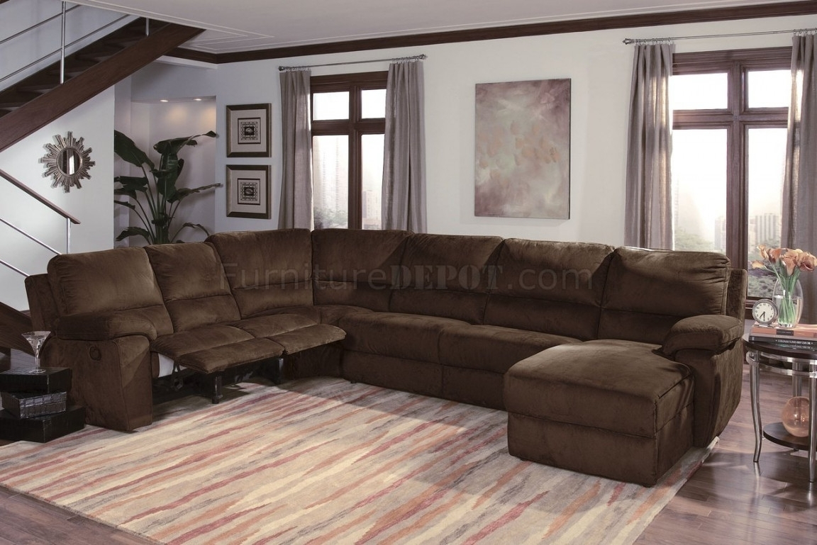 Dark Chocalate Micro Suede Contemporary Reclining Sectional Sofa for Reclining Sectional Sofas (Image 5 of 10)