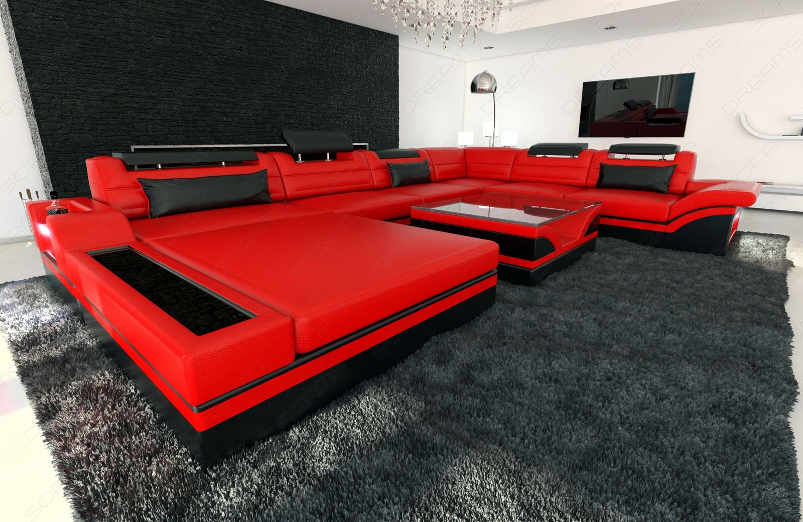 Design Sectional Sofa Mezzo Xxl With Led Lights Red Black | Ebay Regarding Red Black Sectional Sofas (View 3 of 10)