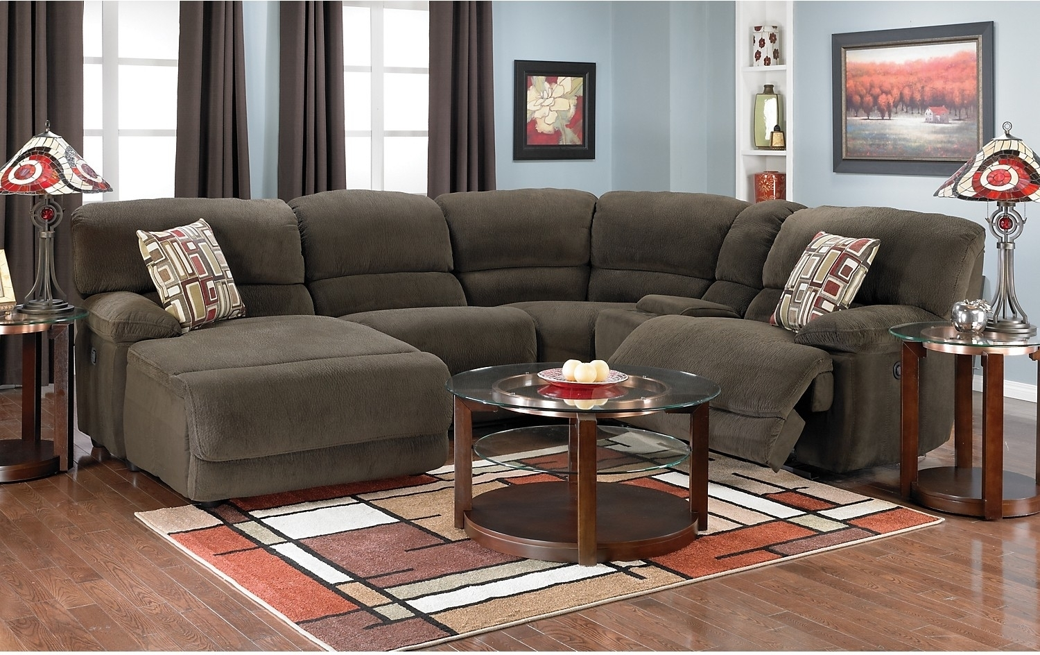 Devon Devon 5 Piece Sectional With Chaise And Sleeper Sofa within Sectional Sofas At Brick (Image 8 of 15)