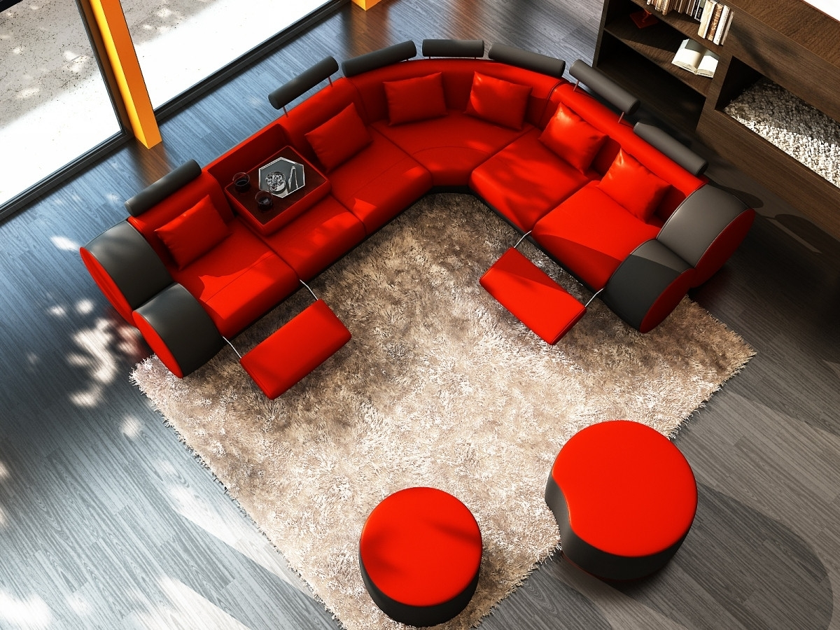 Divani Casa 3087 – Modern Black And White Leather Sectional Sofa With Red Sectional Sofas With Ottoman (View 12 of 15)