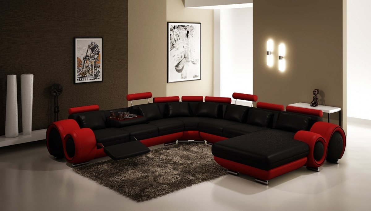 Divani Casa 4084 Modern Black And Red Bonded Leather Sectional Sofa For Red Black Sectional Sofas (View 4 of 10)