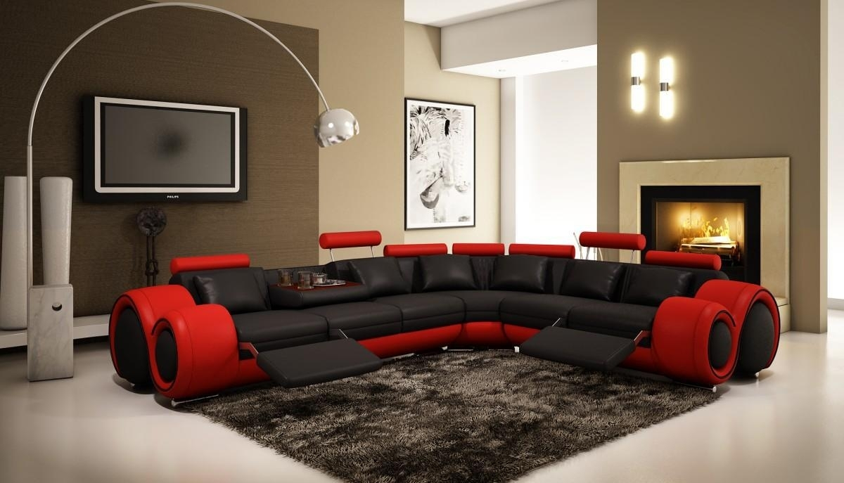 Divani Casa 4087 - Modern Leather Sectional Sofa Black Red | Leather pertaining to Red Leather Sectional Sofas With Recliners (Image 4 of 15)