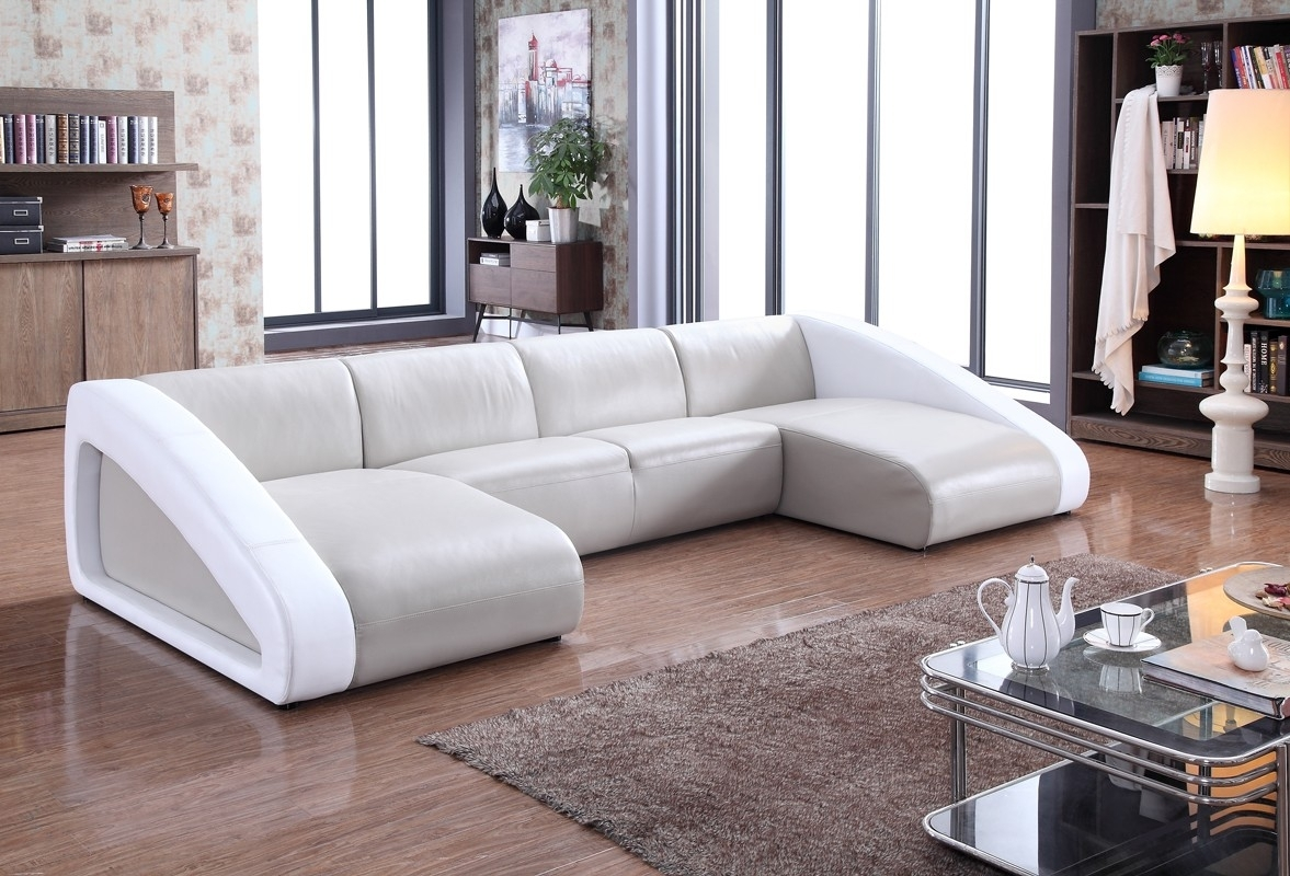 Divani Casa Pratt Modern Grey White Leather Sectional Sofa Curved in Modern U Shaped Sectionals (Image 3 of 15)