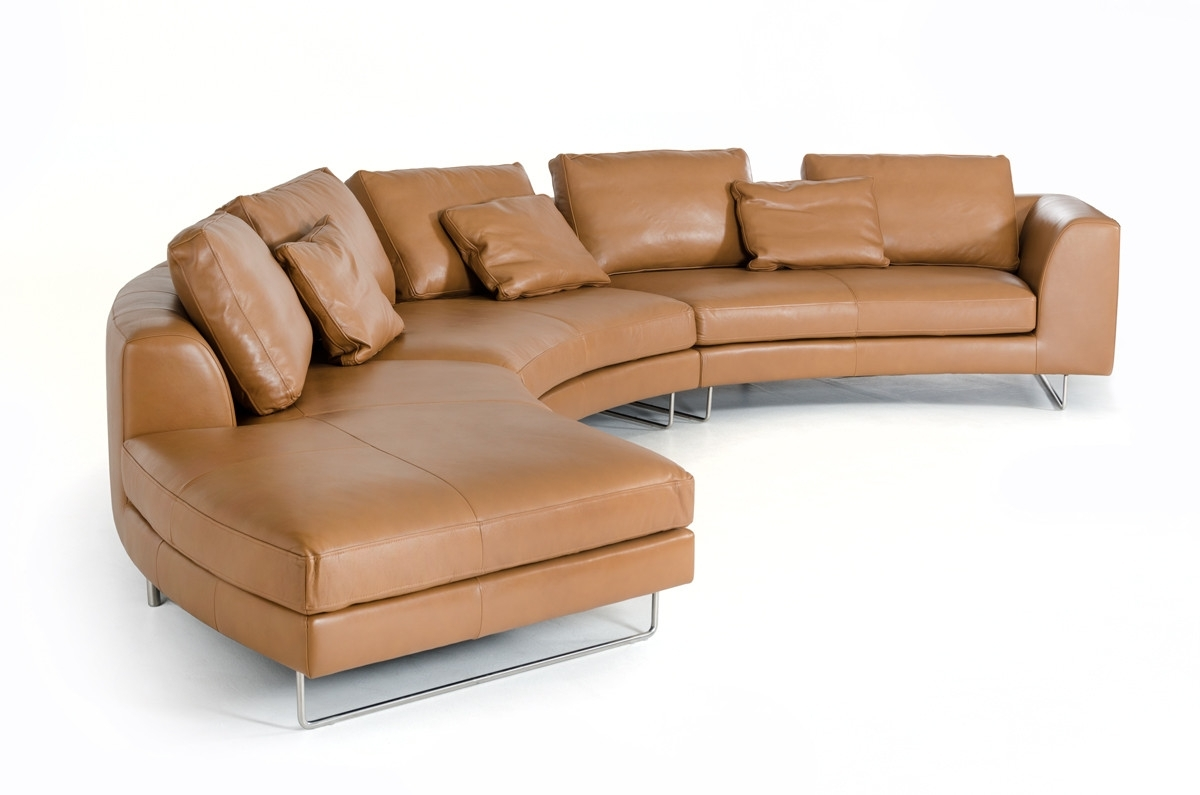 Divani Casa Tulip Modern Camel Full Leather Sectional Sofa throughout Camel Sectional Sofas (Image 6 of 10)