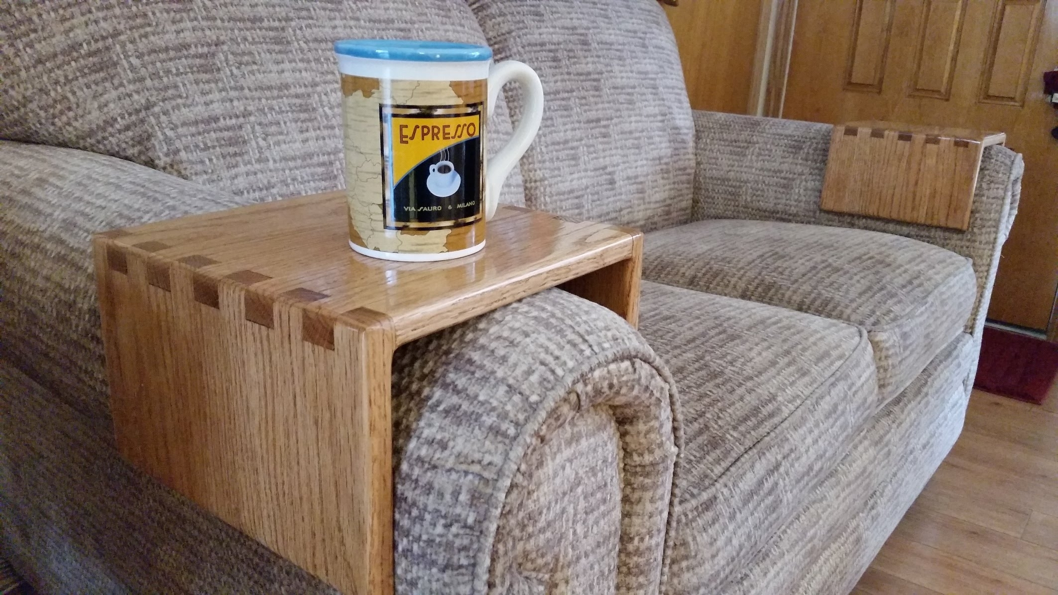 Diy – Sofa Drink Holder Using Simple Box Joints – Youtube With Regard To Sofas With Drink Tables (View 3 of 10)