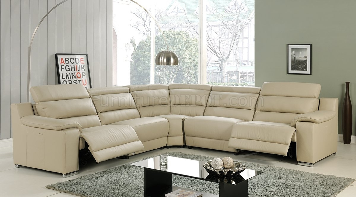 Elda Reclining Sectional Sofa In Beige Leatherat Home Usa Intended For Sectional Sofas With Recliners (View 6 of 15)