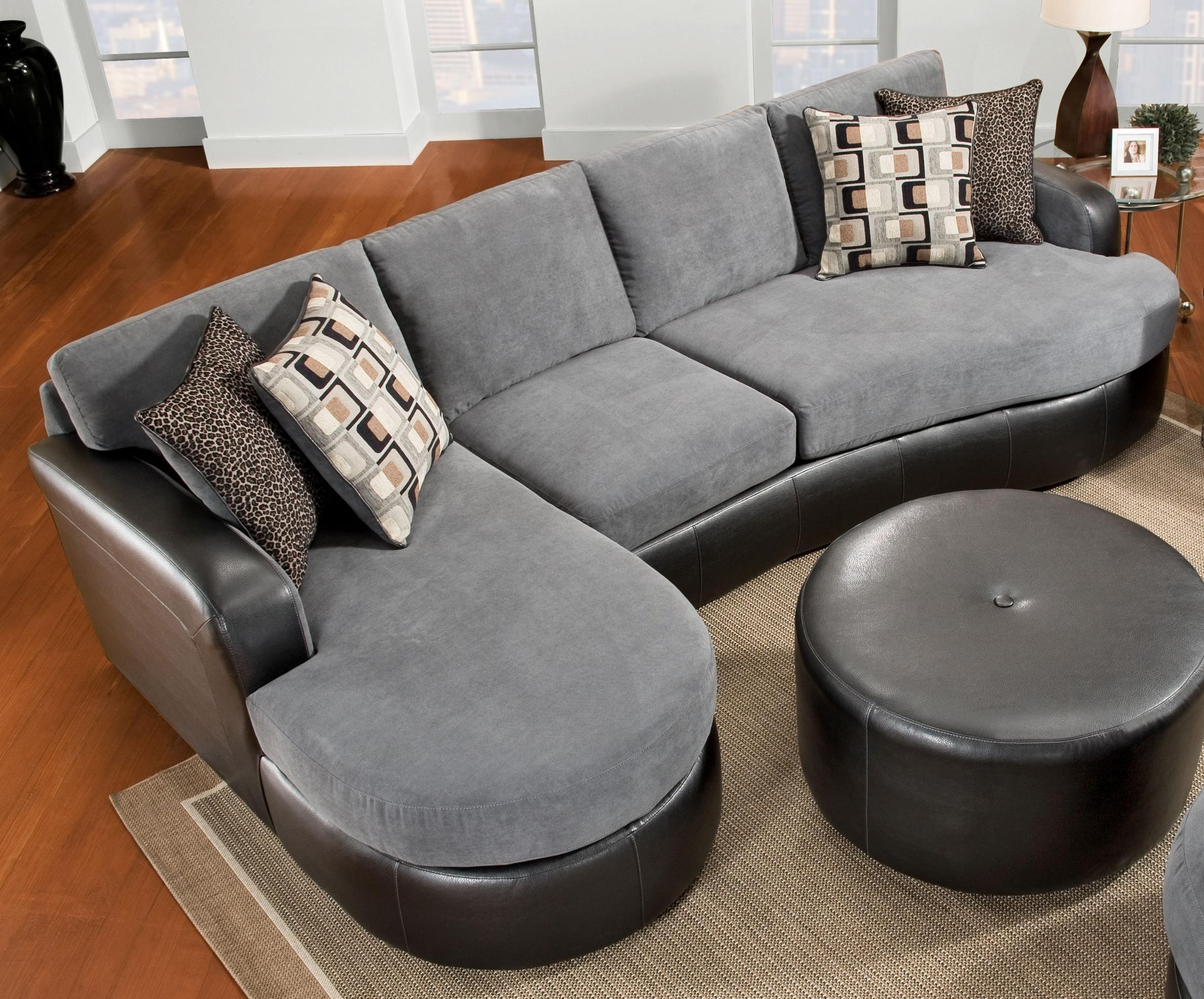 Elegant Chic Gray Velvet And Black Leather Sectional Sofa With F within Black Leather Sectionals With Ottoman (Image 7 of 15)