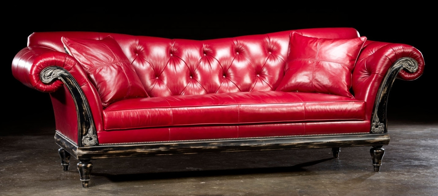 Elegant Red Leather Couch 54 In Contemporary Sofa Inspiration With throughout Red Leather Couches (Image 3 of 15)