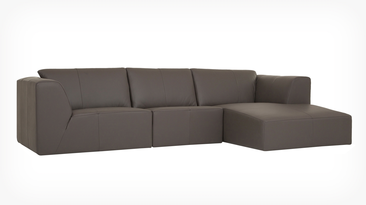 Eq3 | Morten 3 Piece Sectional Sofa With Chaise – Leather With Regard To Eq3 Sectional Sofas (View 4 of 10)