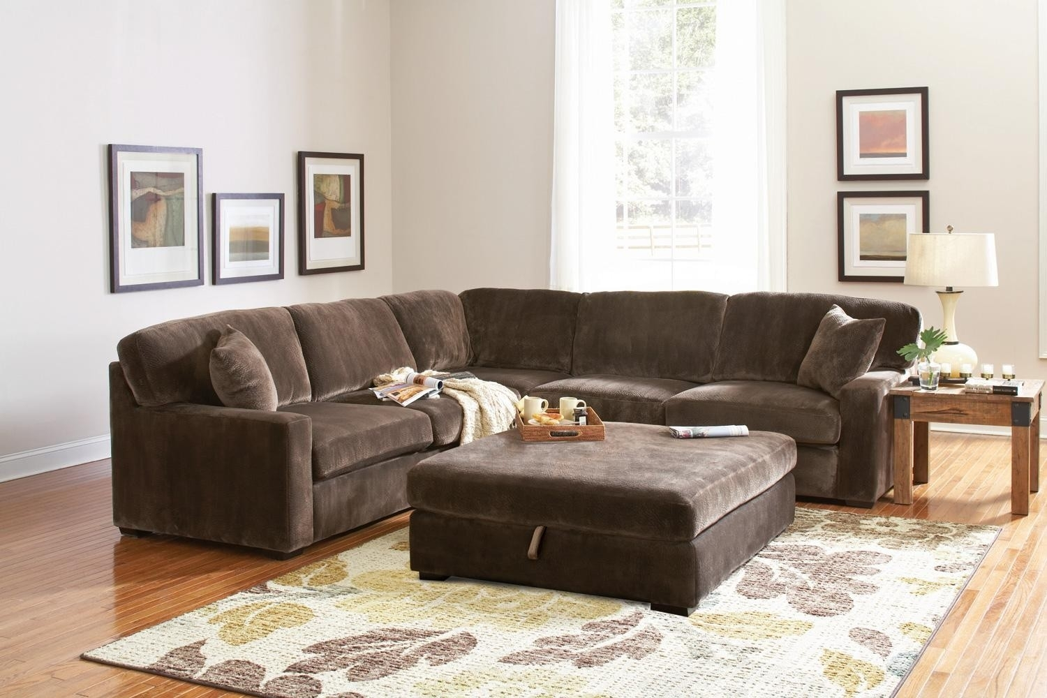 Erickon Coffee Bean Velvet Sectional Sofa – Living Room Inside Velvet Sectional Sofas (View 4 of 10)