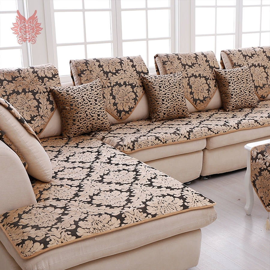 Europe Black Gold Floral Jacquard Terry Cloth Sofa Cover Plush with regard to Sectional Sofas From Europe (Image 4 of 10)