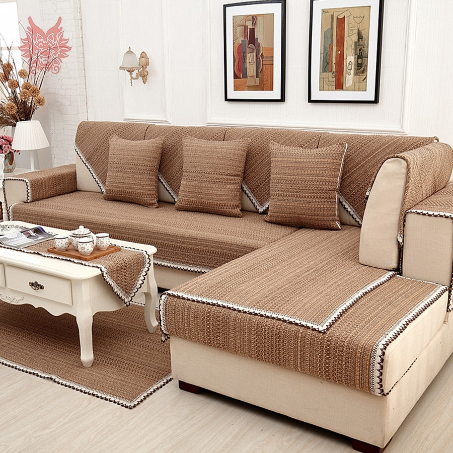 Europe Style Brown Solid Cotton Linen Sofa Cover Lace Decor Inside Sectional Sofas From Europe (View 5 of 10)