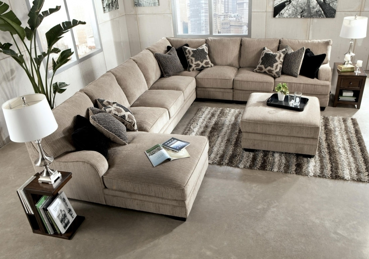 Excellent Large Sectional Sofa With Ottoman 82 On Leather Sectional throughout Sectional Sofas With Chaise And Ottoman (Image 6 of 15)