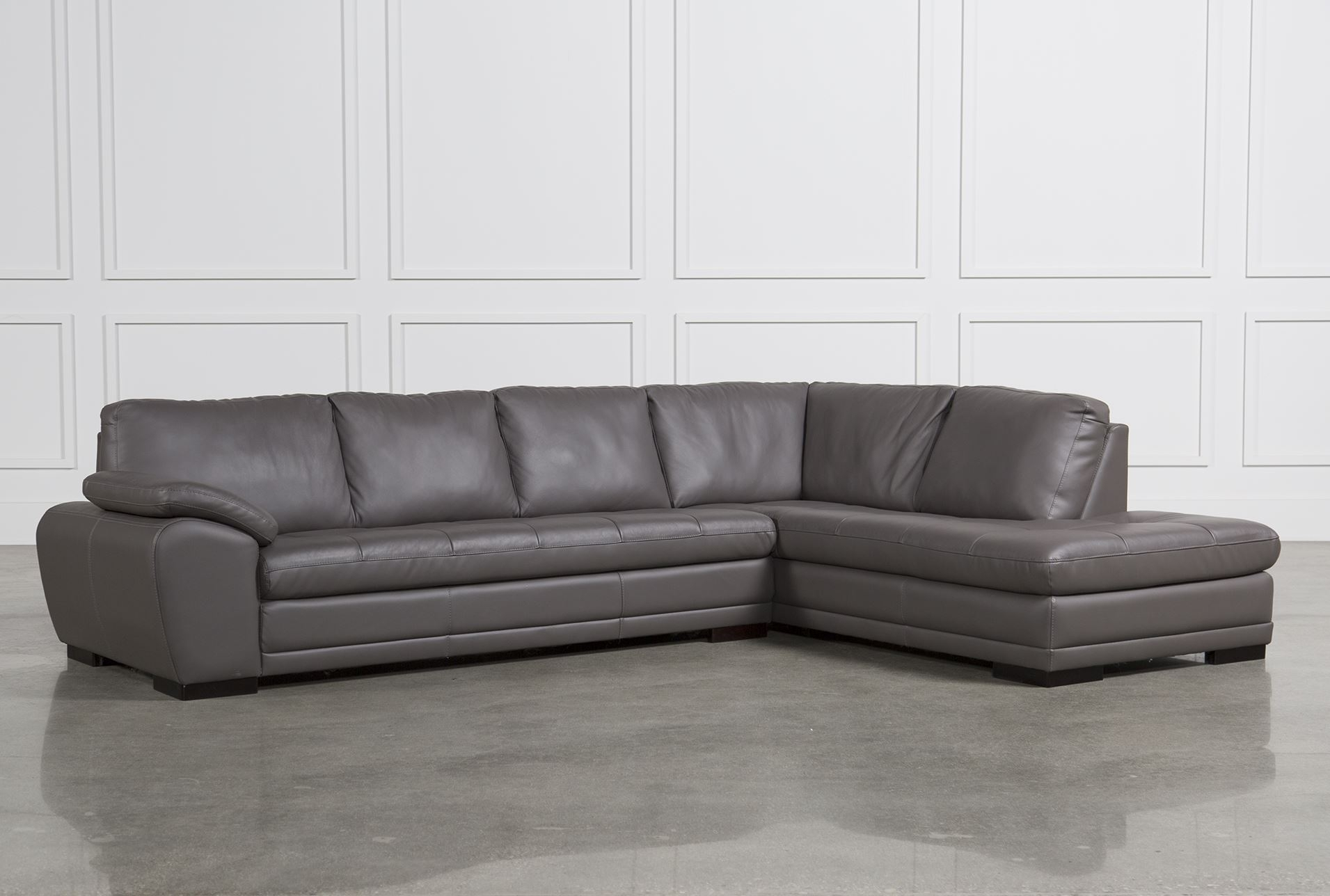 Excellent Leather Sectional Sofas For Vaughn Granite 2 Piece Inside Living Spaces Sectional Sofas (Photo 4 of 10)