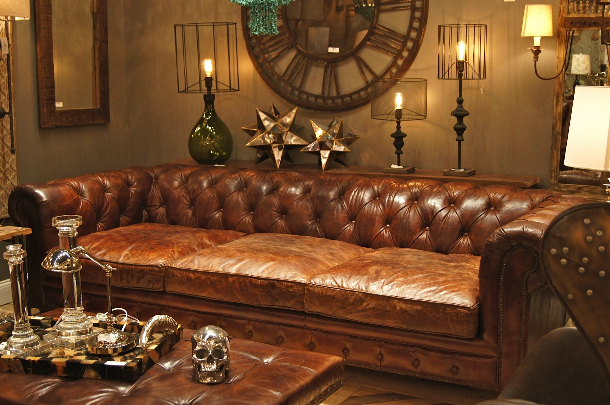 Extra Deep Chesterfield Sofa In Antique Brown Finish Plus Tufted in Deep Cushion Sofas (Image 7 of 10)