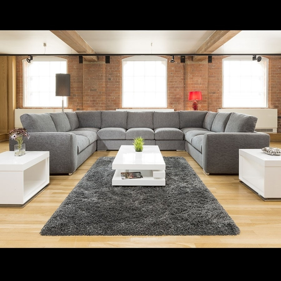 Extra Large Cinema Sofa Set Settee Corner Group U Shape Grey 4.0X2 throughout Large U Shaped Sectionals (Image 4 of 15)