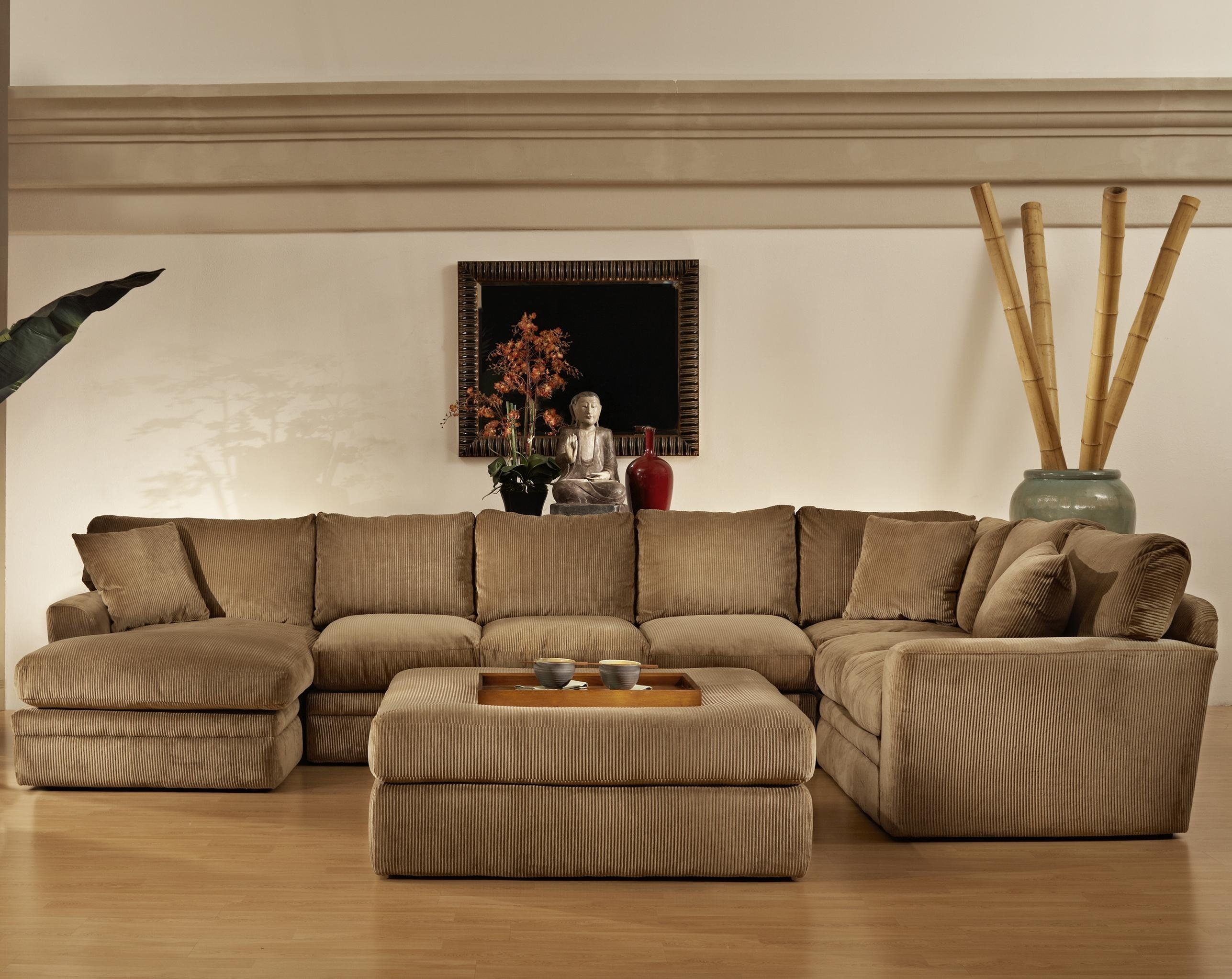 Extra Large Sectional Sofa With Chaise And Ottoman U Shaped In Brown inside Sectional Sofas With Chaise And Ottoman (Image 7 of 15)