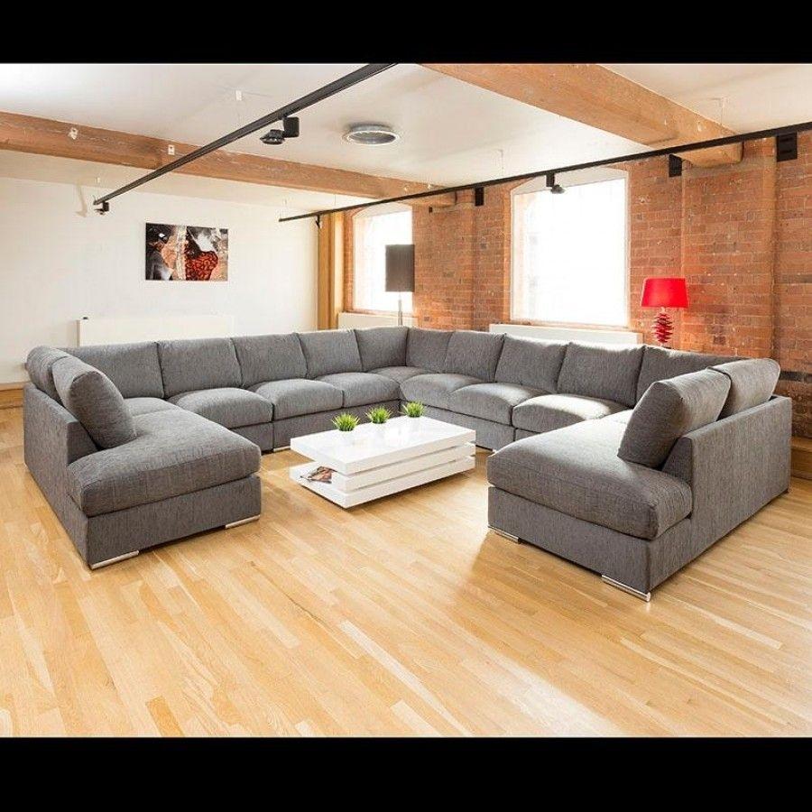 Extra Large Unique Sofa Set Settee Corner Group C Shape Grey 4.0X4 within Extra Large U Shaped Sectionals (Image 6 of 15)