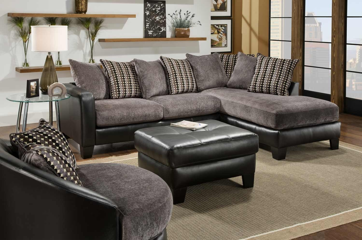 Fascinating Picture Of Living Room Decoration Using L Shape Leather with Black Leather Sectionals With Ottoman (Image 8 of 15)