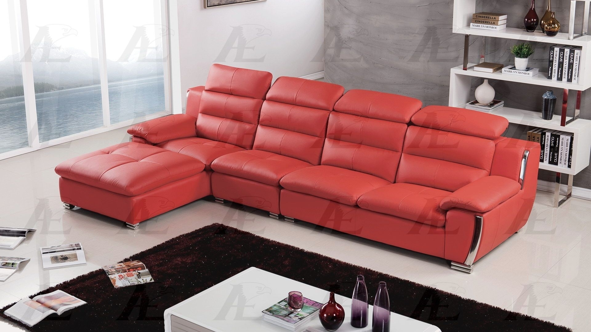 Faux Leather Sectional with regard to Red Faux Leather Sectionals (Image 3 of 15)