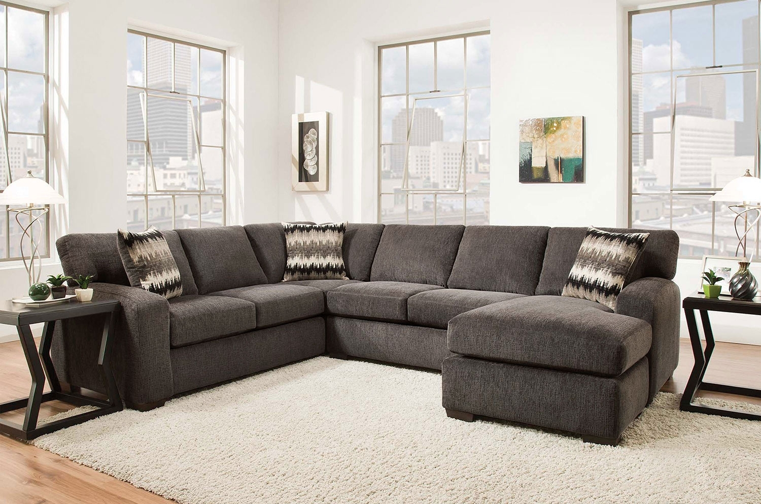 Fenella 2 Piece Right Facing Sectional – Smoke | Levin Furniture For Sectional Sofas With Ottoman (View 7 of 15)