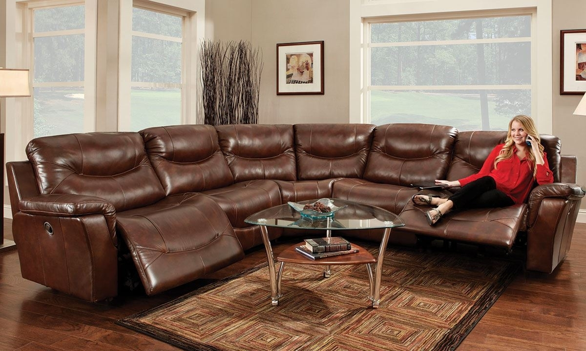Franklin Pinehurst 6 Pc Leather Reclining Storage Sectional Sofa Within Sectional Sofas At The Dump (View 6 of 15)