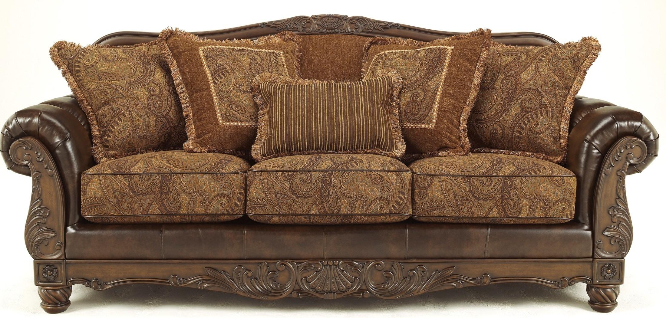 Fresco Durablend Antique Sofa From Ashley (6310038) | Coleman Furniture throughout Antique Sofas (Image 7 of 10)