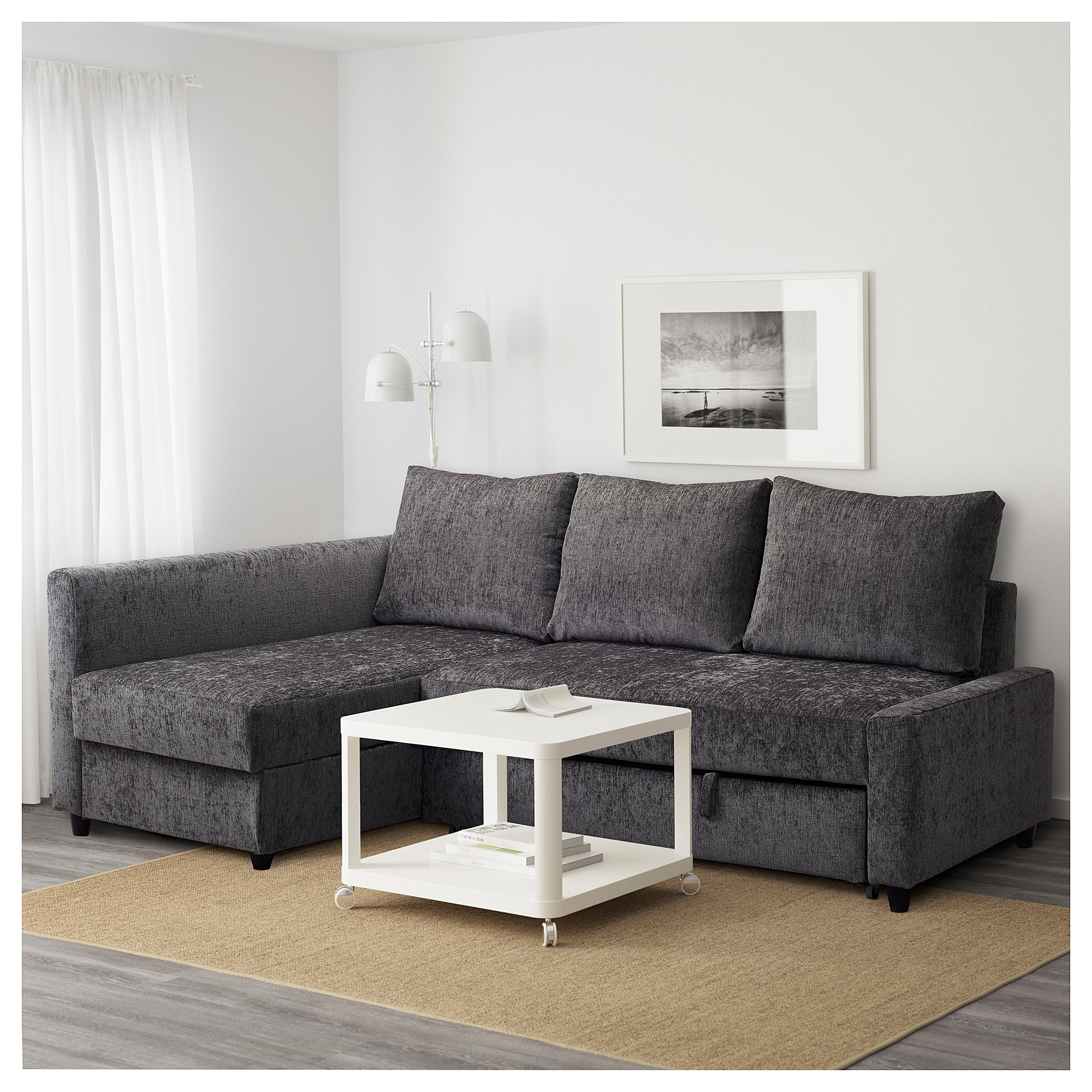 Friheten Corner Sofa Bed With Storage Dark Grey – Ikea Throughout Ikea Corner Sofas With Storage (View 4 of 10)