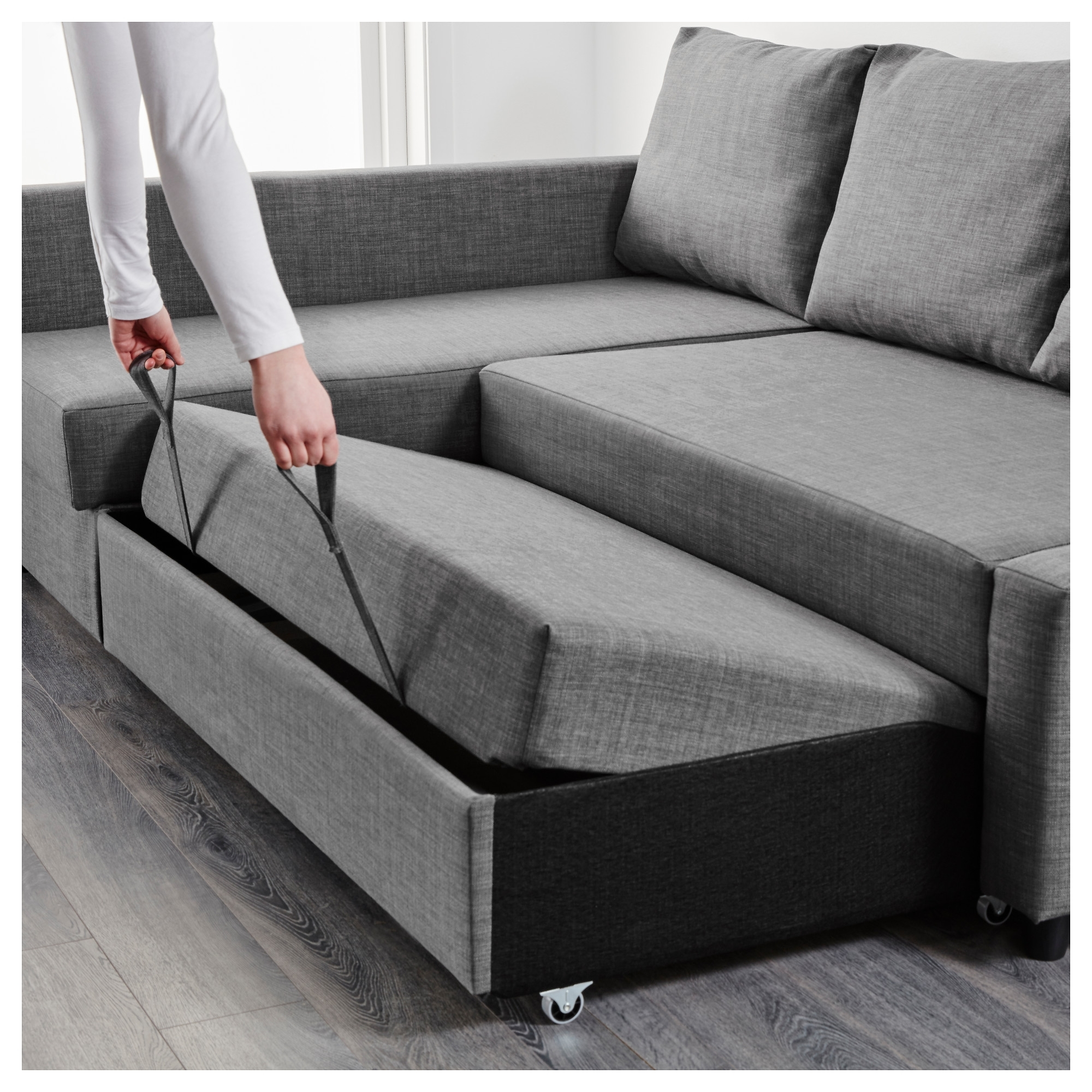 Friheten Corner Sofa Bed With Storage Skiftebo Dark Grey – Ikea With Storage Sofas (View 7 of 10)