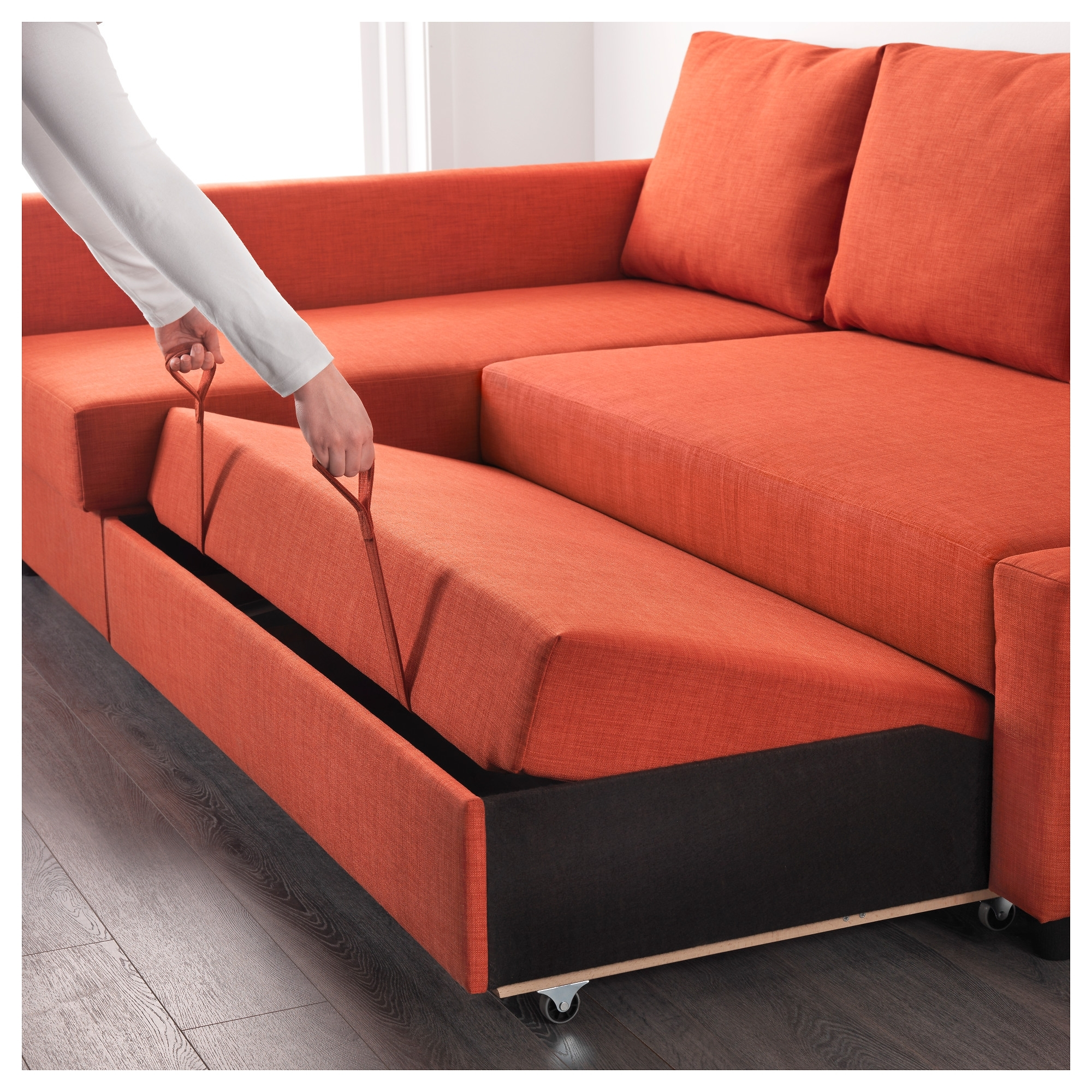 Friheten Corner Sofa Bed With Storage Skiftebo Dark Orange – Ikea In Storage Sofas (View 8 of 10)