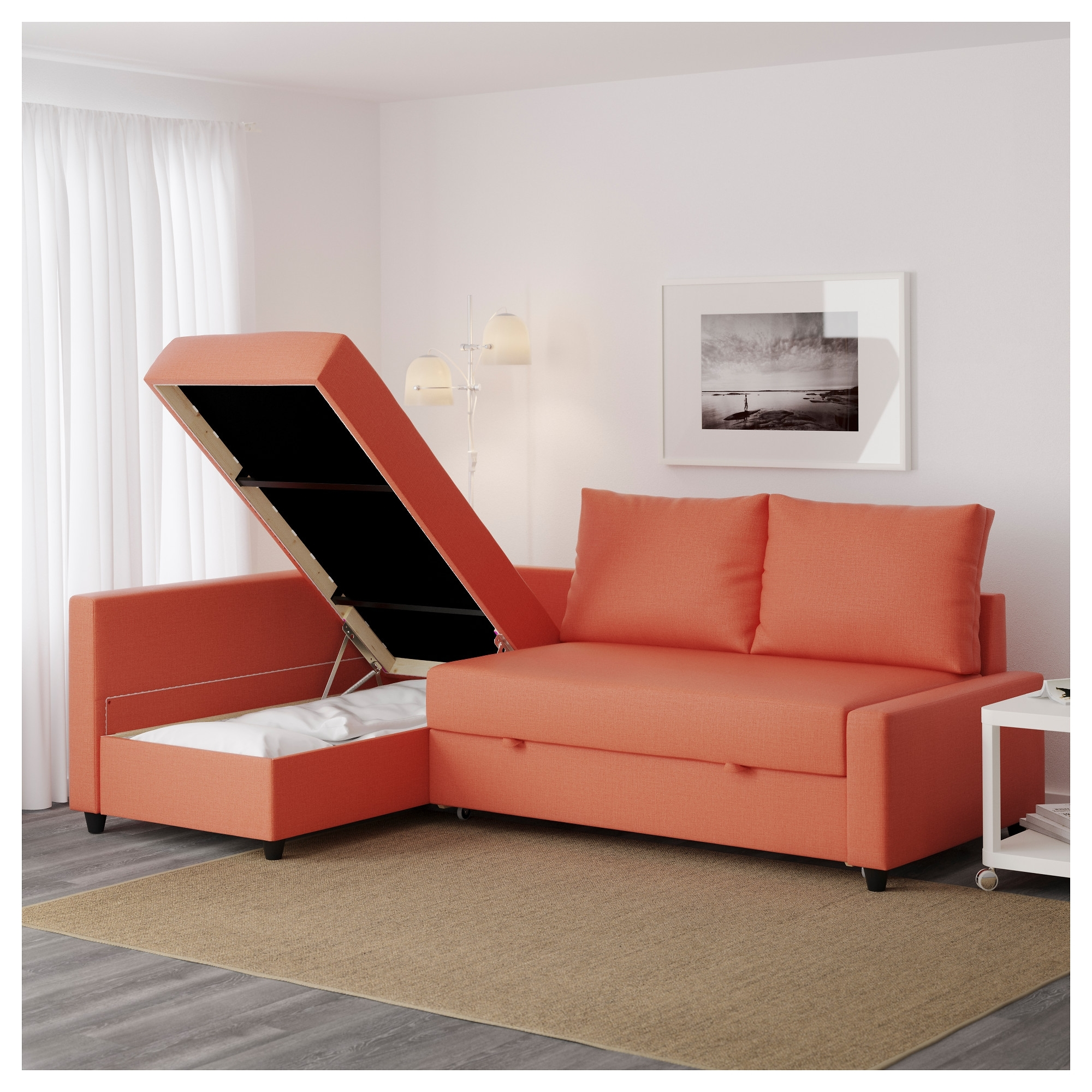 Friheten Corner Sofa Bed With Storage Skiftebo Dark Orange – Ikea Regarding Ikea Corner Sofas With Storage (View 8 of 10)