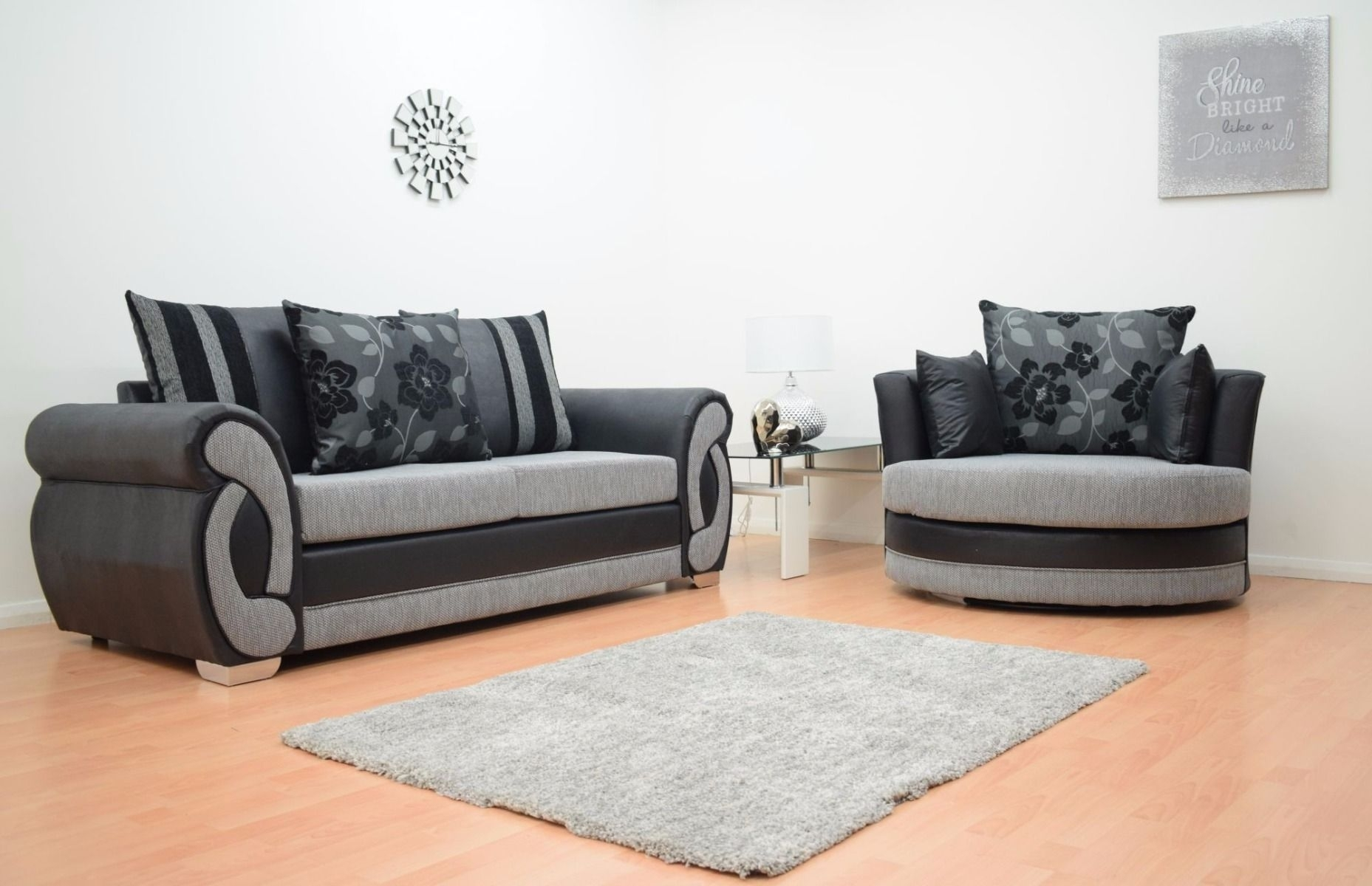 Furnish365 | Chloe 3 Seater And 2 Seater Fabric Sofa Suite – Black Regarding 3 Seater Sofas And Cuddle Chairs (View 3 of 10)