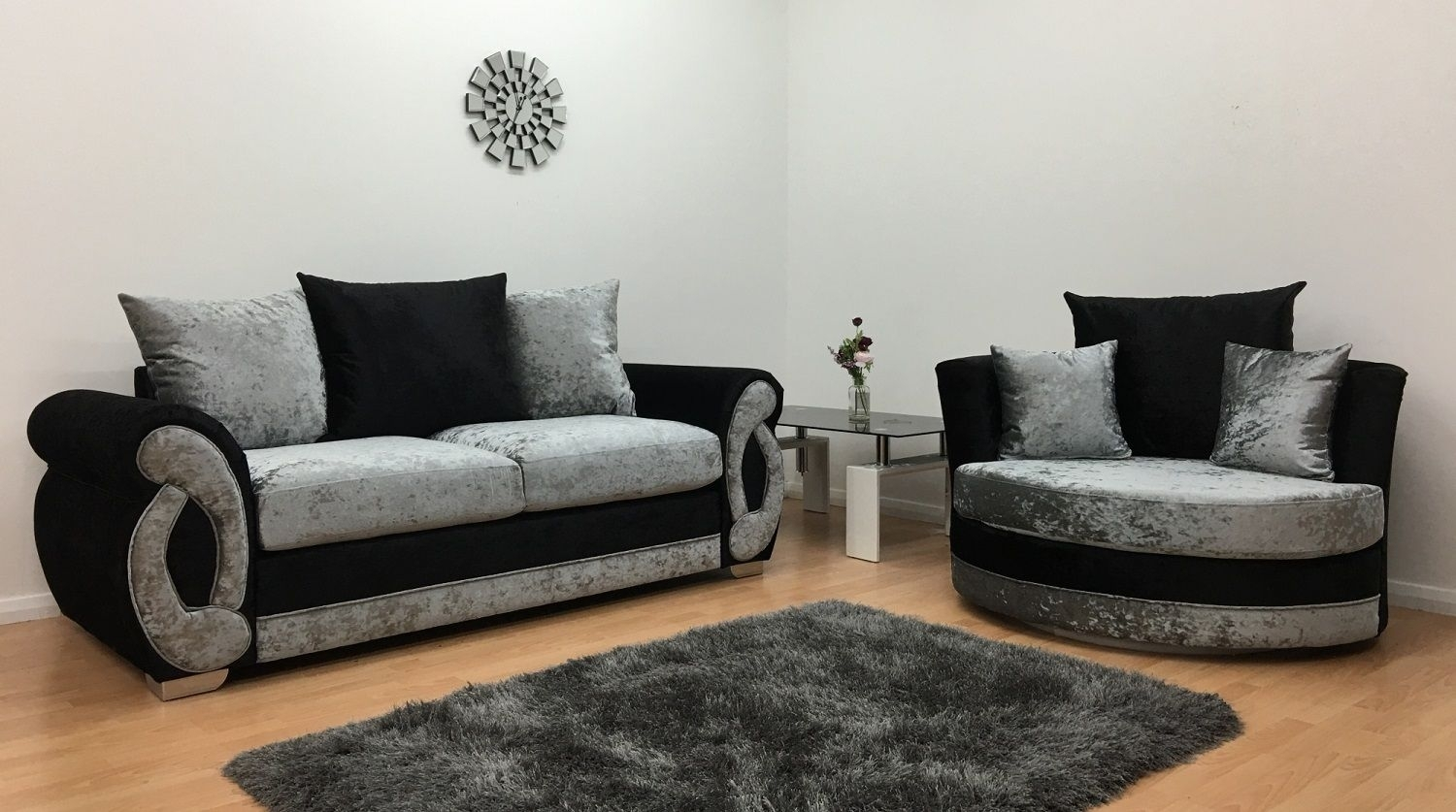 Furnish365 | Chloe 3-Seater And Cuddle Chair - Black & Silver for 3 Seater Sofas and Cuddle Chairs (Image 4 of 10)