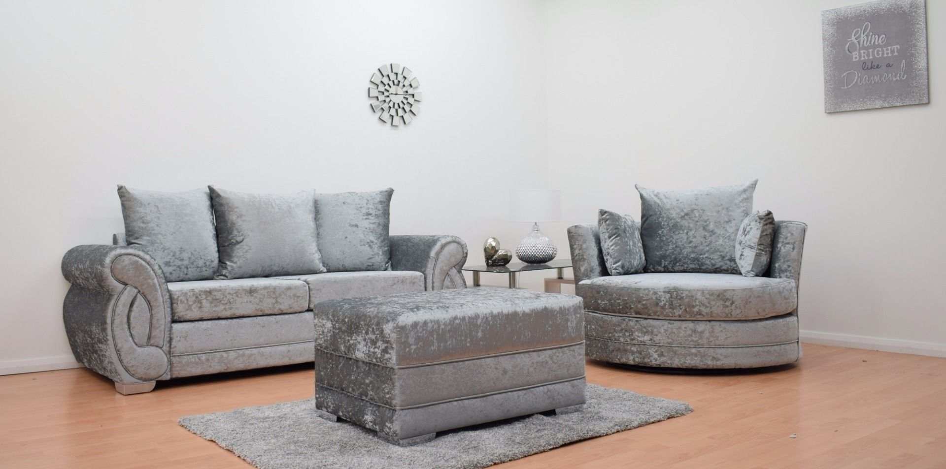 Furnish365 | Chloe 3 Seater Sofa + Cuddle Chair + Footstool – Silver Within 3 Seater Sofas And Cuddle Chairs (View 9 of 10)