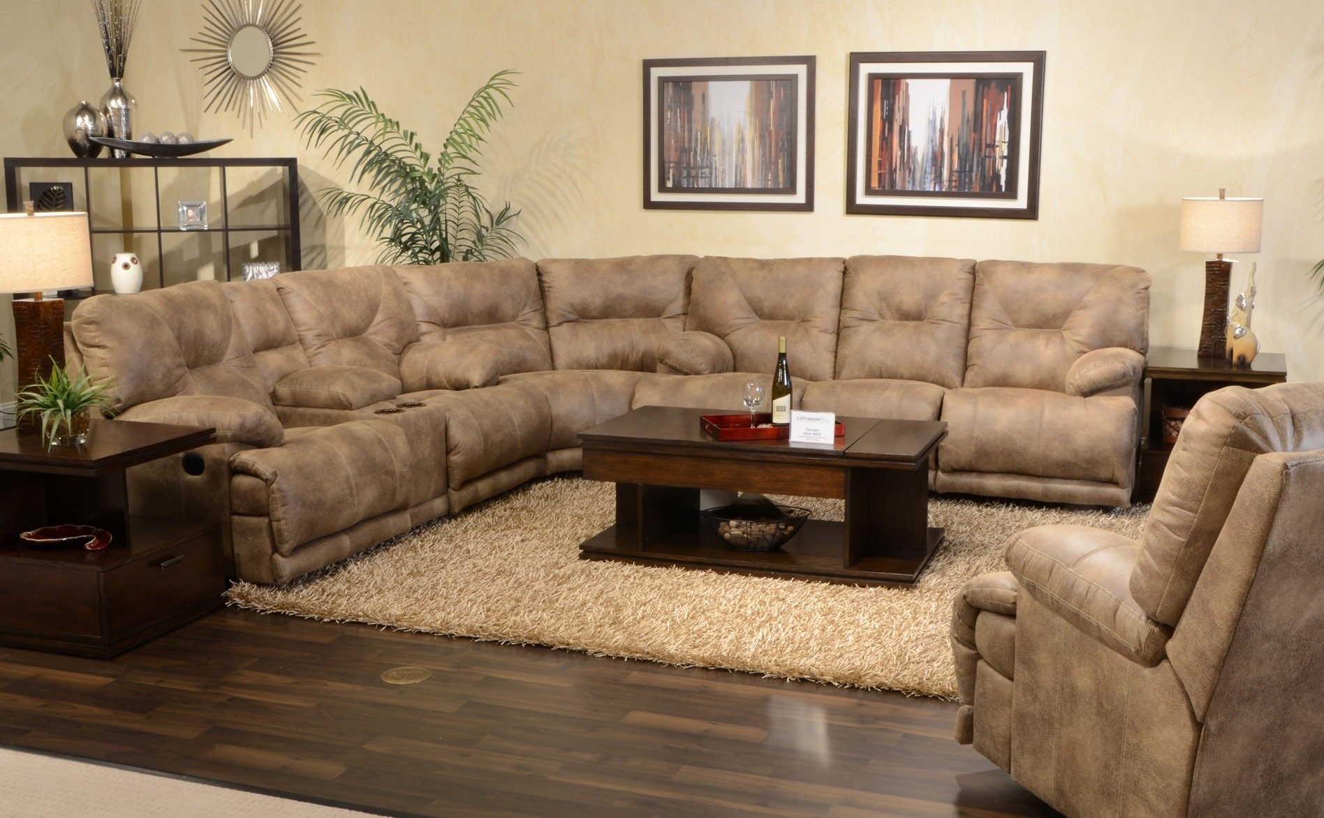 Furniture : Barcelona Sectional Sofa & Ottoman In Beige Sofa 3 For Sectional Sofas For Small Doorways (View 3 of 10)