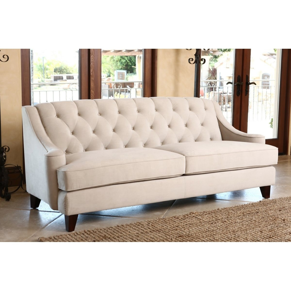 Furniture : Klaussner Loewy Sofa Sofa Velour Beige Vintage Pink in Quad Cities Sectional Sofas (Image 7 of 10)