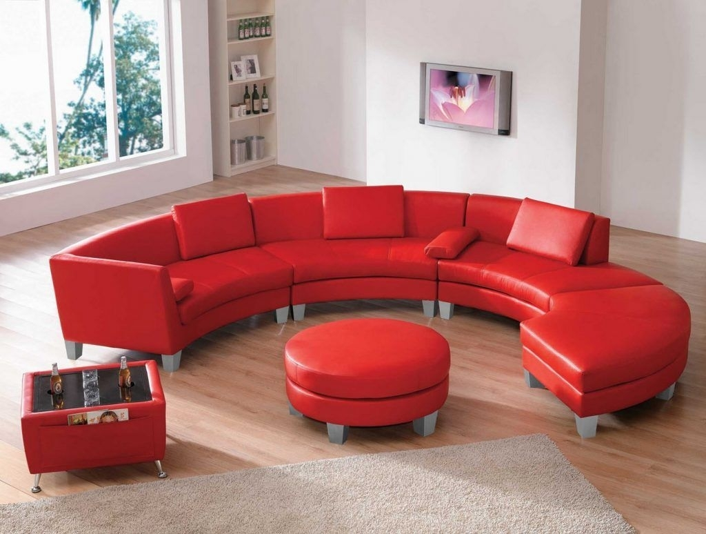 Furniture Living Room Curved Red Top Grain Leather Sectional Sofa in Red Leather Sectionals With Ottoman (Image 7 of 15)