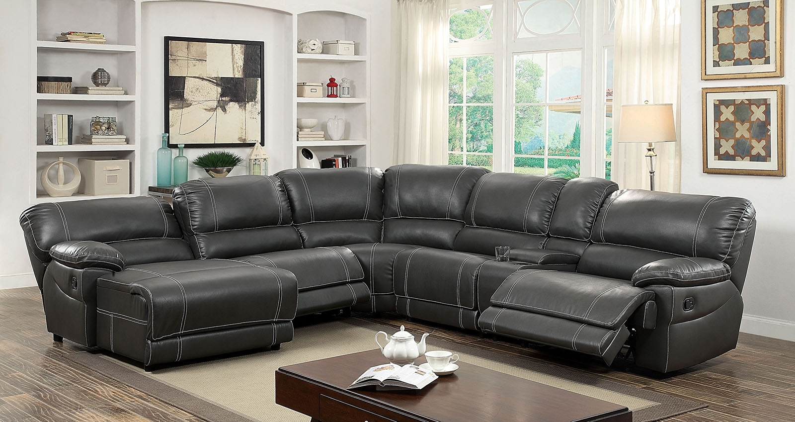 Furniture Of America 6131Gy Gray Reclining Chaise Console Sectional Within Orange County Ca Sectional Sofas (View 5 of 10)