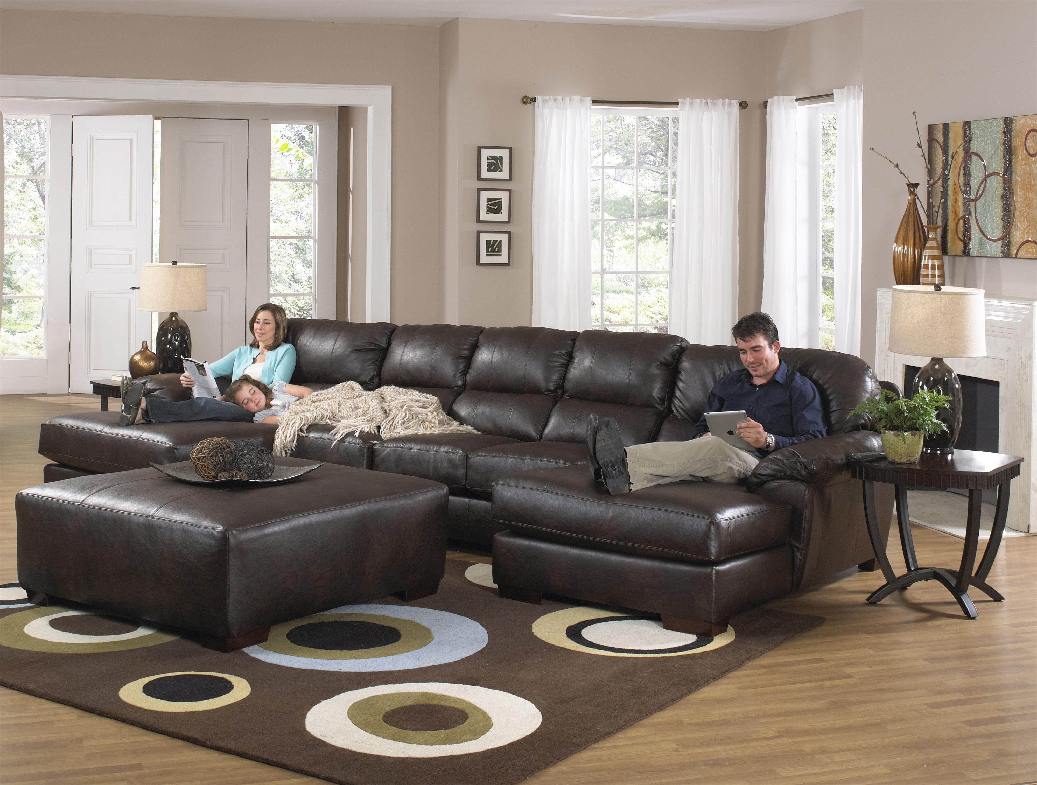 Furniture : Two Chaise Sectional Sofa With Five Total Seats With Leather Sectional Sofas With Ottoman (View 11 of 15)