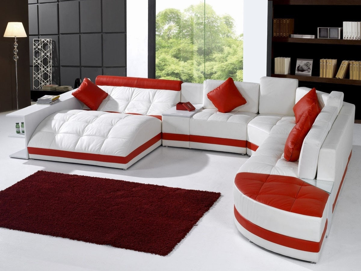 Furniture: White Leather Sectional Sofa With Recliner And Red within Red Leather Sectional Sofas With Recliners (Image 5 of 15)