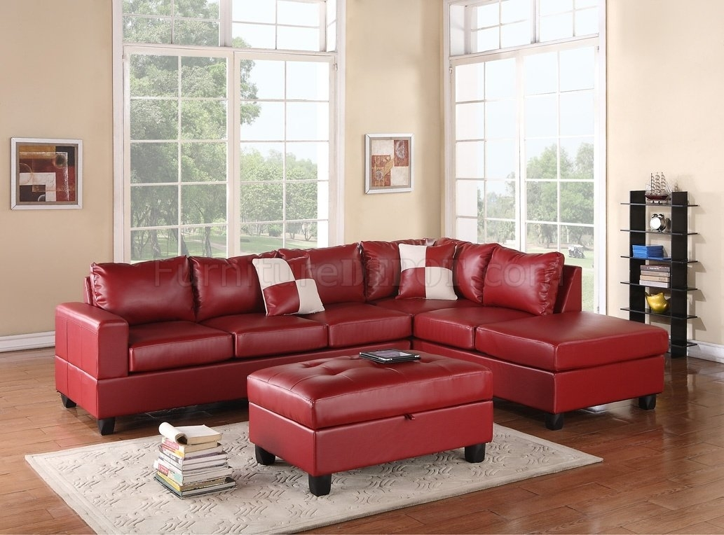 G309 Sectional Sofa In Red Bonded Leatherglory W/ottoman inside Red Leather Sectional Sofas With Ottoman (Image 3 of 15)