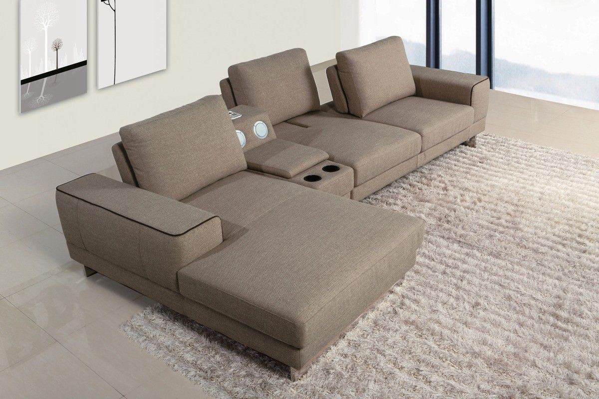 Gatsby Modern Fabric Sectional Sofa W/ Beverage Console And pertaining to Sectional Sofas With Consoles (Image 1 of 10)