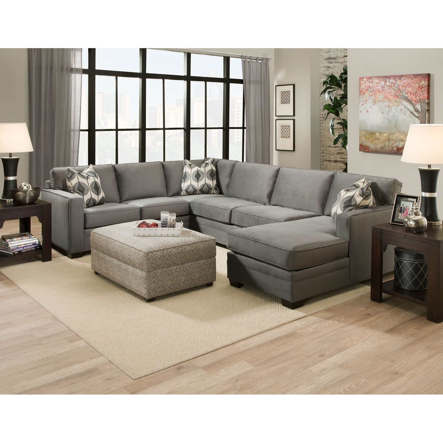 Gray Extra Large U Shaped Sectional Sofa With Chaise And Accent in Extra Large U Shaped Sectionals (Image 9 of 15)