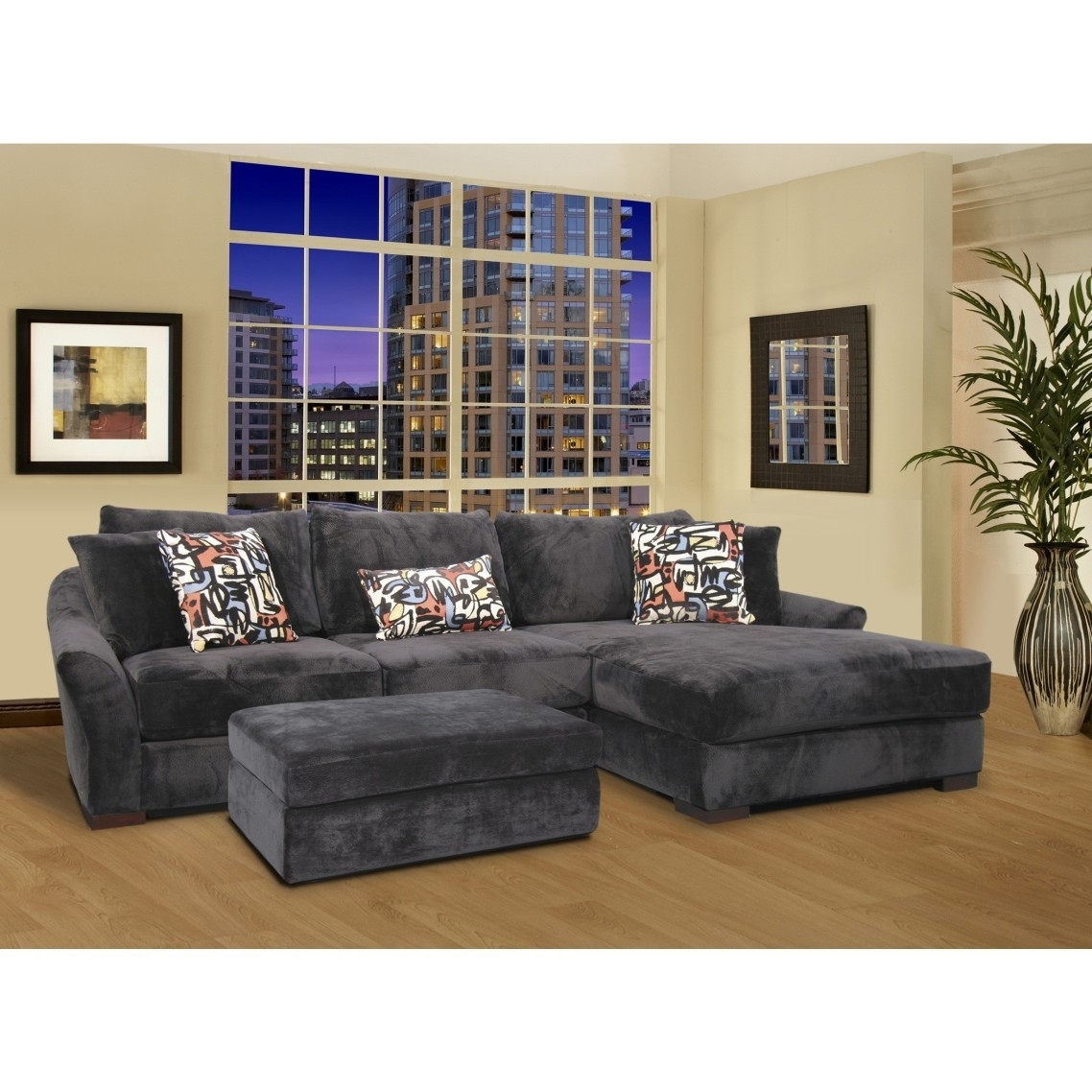 Gray Velvet Oversized Sectional Sleeper Sofa With Left Chaise pertaining to Sectional Sleeper Sofas With Ottoman (Image 8 of 15)